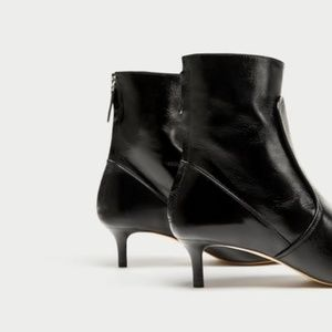 Zara Leather High Heel ankle boots black